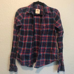 Hollister Med Red Blue Comfy Button Down Flannel